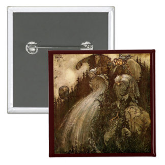 Trolls Pouring Water Down a Hill 2 Inch Square Button