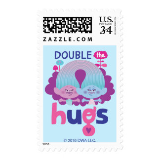 Trolls   Satin & Chenille - Double the Hugs Postage Stamp
