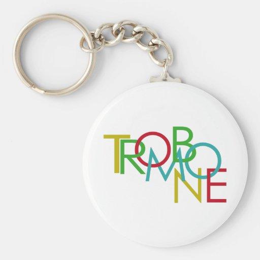 Trombone Basic Round Button Keychain