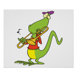 trombone chillón que juega el dibujo animado del l póster