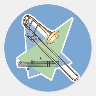 trombone classic round sticker