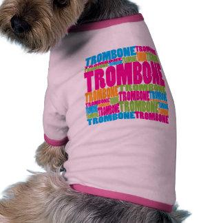 Trombone colorido camiseta con mangas para perro