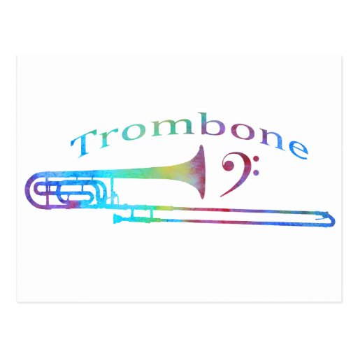 Trombone con el Clef bajo Tarjeta Postal