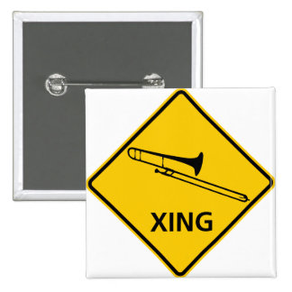 Trombone Crossing Highway Sign Button