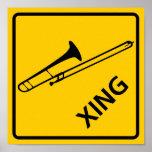 Trombone Crossing Highway Sign Poster