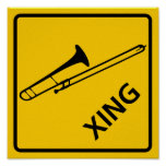 Trombone Crossing Highway Sign Posters