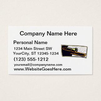 Trombone Dark Background Graphic Design Business Card