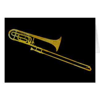 Trombone de oro tarjeta de felicitación