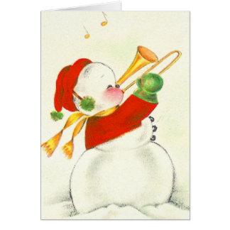 Trombone del muñeco de nieve del vintage tarjeta de felicitación
