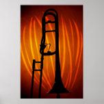 Trombone en el poster del arte del fuego