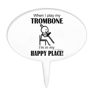 Trombone Happy Place Cake Topper