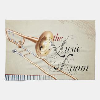 Trombone Music Room Kitchen Towels
