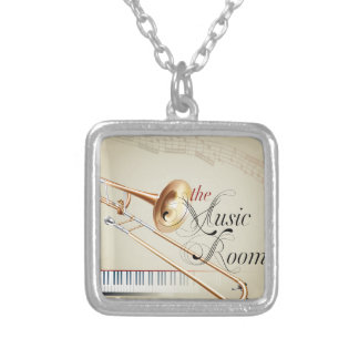 Trombone Music Room Square Pendant Necklace