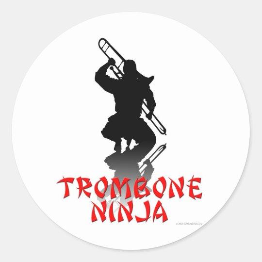 Trombone Ninja Classic Round Sticker