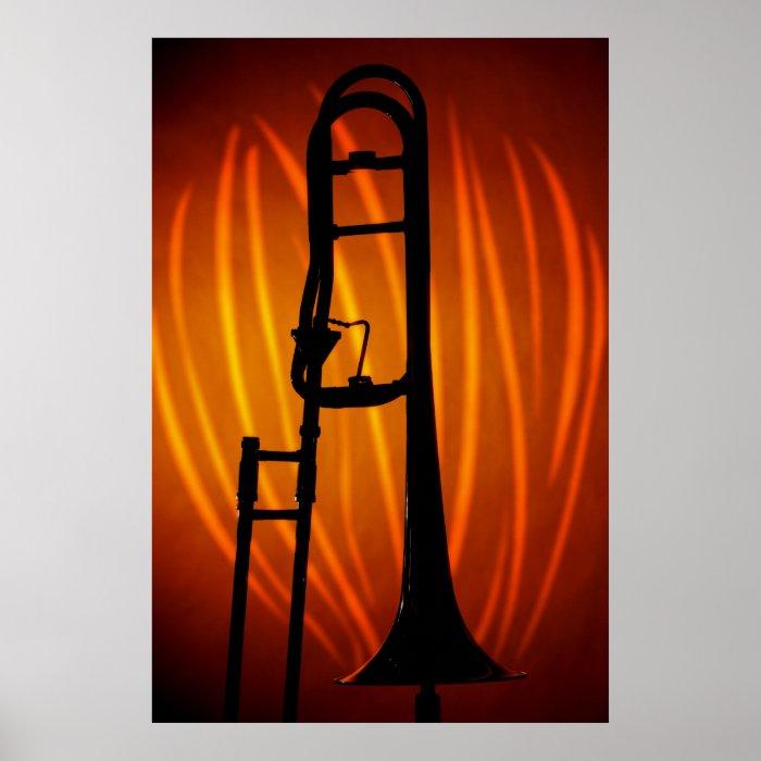Trombone on Fire Art Poster