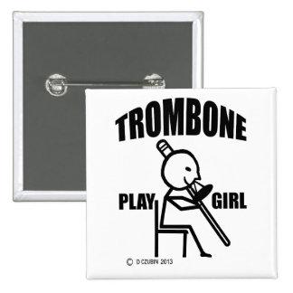 Trombone Play Girl Pinback Button