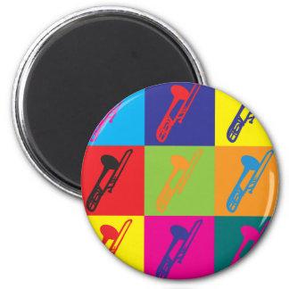 Trombone Pop Art 2 Inch Round Magnet