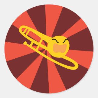 Trombone que rabia pegatina redonda
