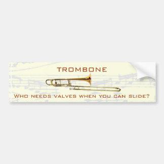Trombone:  ¿Quién necesita las válvulas?  Pegatina Pegatina De Parachoque