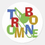 Trombone Scramble Classic Round Sticker
