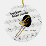 Trombone Version - What Feelings Sound Like Double-Sided Ceramic Round Christmas Ornament