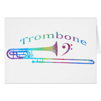Trombone with Bass Clef Greeting Cards