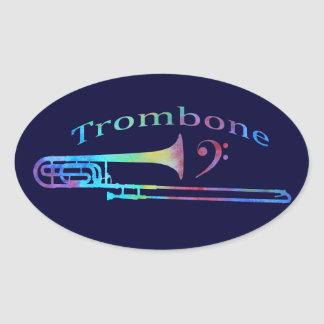 Trombone with Bass Clef Oval Sticker