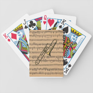 Trombone With Sheet Music Background Bicycle Playing Cards