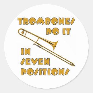 Trombones Do It In 7 Positions Classic Round Sticker
