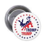 Tromp Trump Kicking Democratic Donkey Political Button