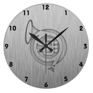 Trompa cepillada de la metal-mirada reloj de pared
