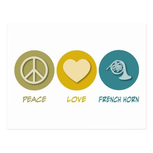 Trompa del amor de la paz tarjeta postal