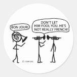 Trompa francesa pegatinas redondas