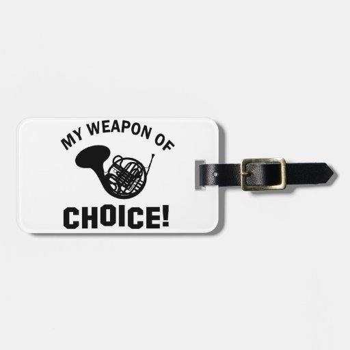 Trompa mi arma de la opción etiqueta de equipaje