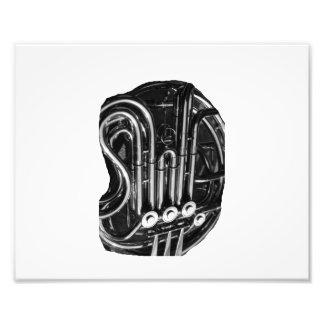 Trompa que instala tubos diseño blanco y negro de  impresion fotografica