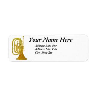 Trompa que marcha de oro etiquetas de remite
