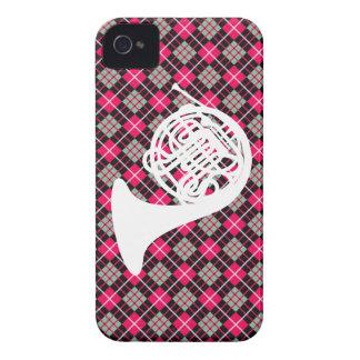 Trompa rosada de la tela escocesa iPhone 4 Case-Mate carcasa