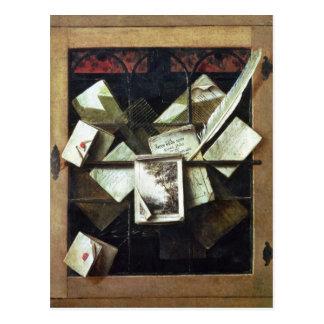 Trompe - l ' oeil con las letras y los cuadernos, tarjetas postales