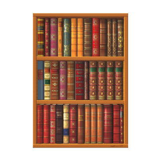 """Trompe l'oeil """"French library"""" Canvas Print"""