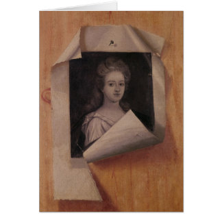 Trompe l'Oeil Portrait of a Lady Card