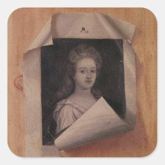 Trompe l'Oeil Portrait of a Lady Square Sticker