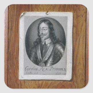 Trompe L'Oeil Still Life of a Print of Charles I ( Square Sticker