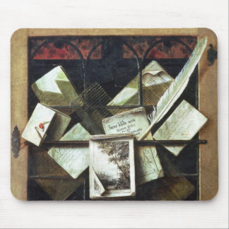 Trompe l'oeil with letters and notebooks, 1665 mouse pad