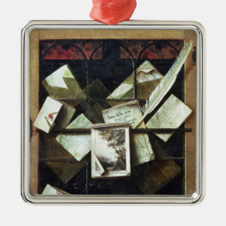Trompe l'oeil with letters and notebooks, 1665 square metal christmas ornament