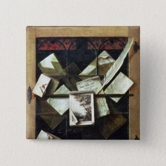 Trompe l'oeil with letters and notebooks, 1665 pinback button