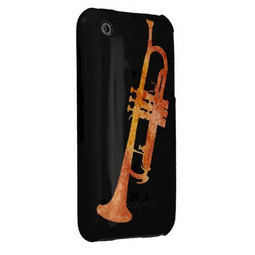 Trompeta anaranjada de oro funda para iPhone 3