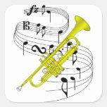 Trompeta Calcomanía Cuadradas Personalizadas