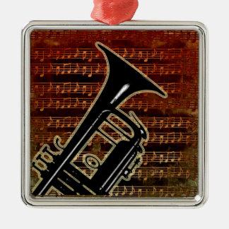 Trompeta caliente ID280 de los tonos Adorno Navideño Cuadrado De Metal