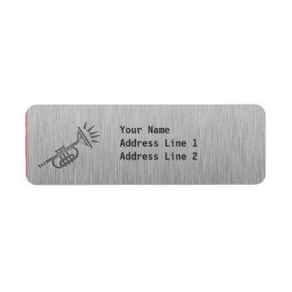 Trompeta cepillada de la metal-mirada etiqueta de remitente