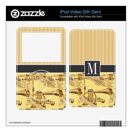 Trompeta de cobre amarillo; trompetas iPod video 5G calcomanía